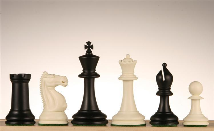 3 3/4 inch Emisario Player Chess Pieces - Black and White - Chess Pieces