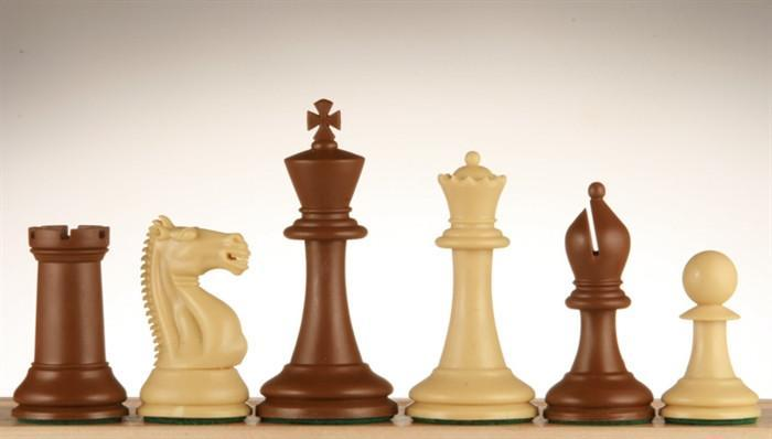 3 3/4 inch Emisario Player Chess Pieces - Brown and Tan - Chess Pieces