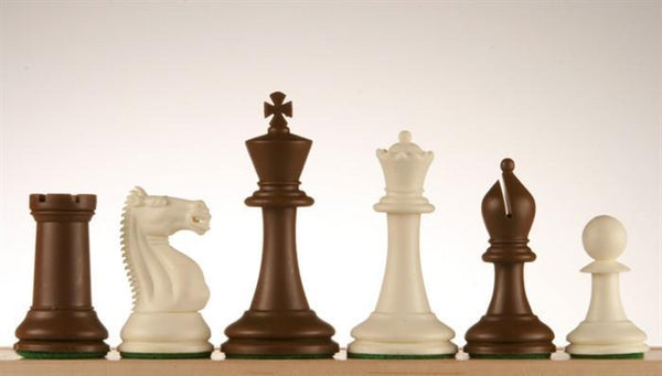 "3 3/4"" Emisario Player Chess Pieces - Brown and White - Piece - Chess-House"