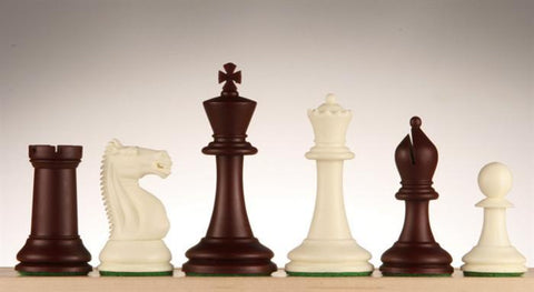 "3 3/4"" Emisario Player Chess Pieces - Burgundy and White - Piece - Chess-House"