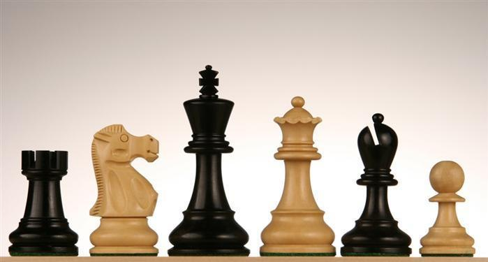 3 3/4 inch Jacques Chessmen - Black Stained Kari Wood - Chess Pieces