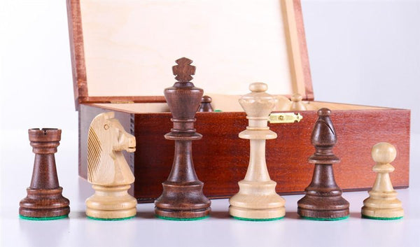 "3 3/4"" Standard Staunton Chess Pieces #6 in Dark Wood Box - Piece - Chess-House"