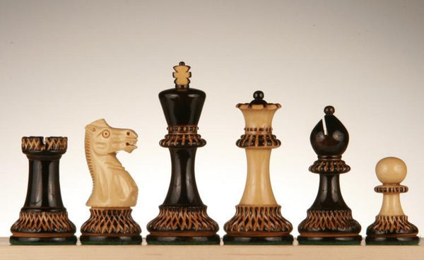 "3 3/4"" Staunton Chessmen with Etched Pyrography Design - Weighted - Piece - Chess-House"
