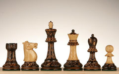 "3 3/4"" Staunton Chessmen with Floral Pyrography Design - Weighted - Piece - Chess-House"
