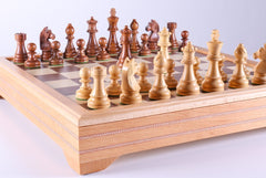 "3 3/4"" Timeless Pieces on Beech Wood Storage Chest - Chess Set - Chess-House"