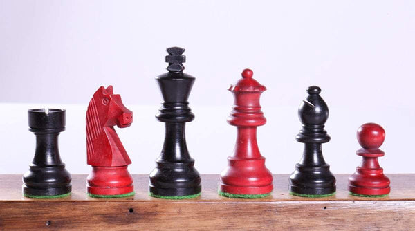 "3"" Modern Staunton Pieces in Black and Red - Piece - Chess-House"