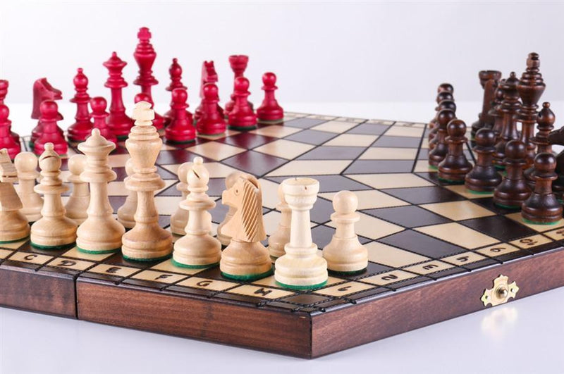 3 Player Large Wood Chess Set