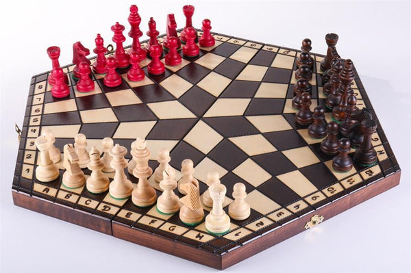 3 Player Large Wood Chess Set Chess House