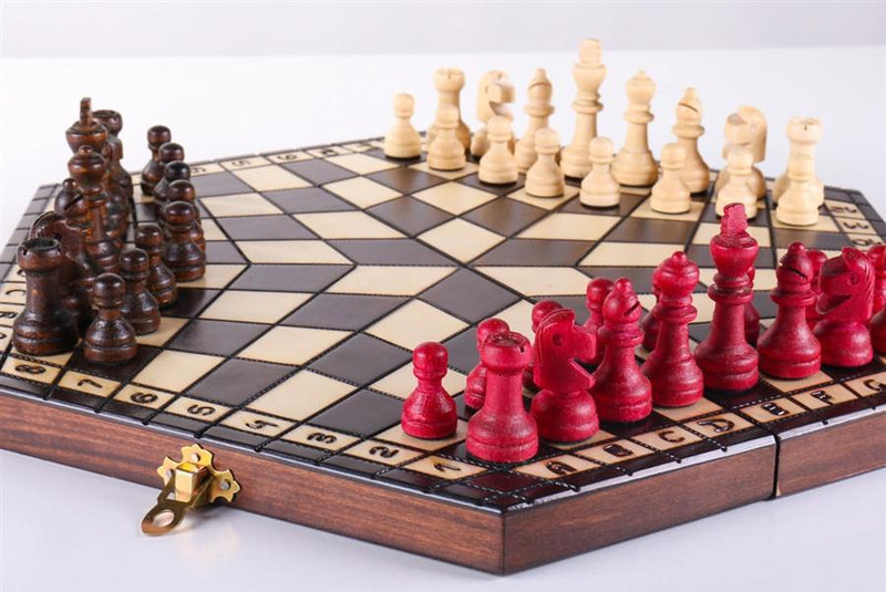 3 Player Medium Wood Chess Set