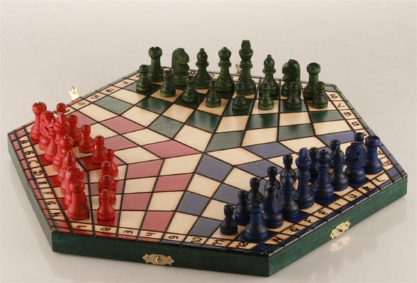 3 Player Medium Wood Chess Set - Tri color board - Chess Set - Chess-House