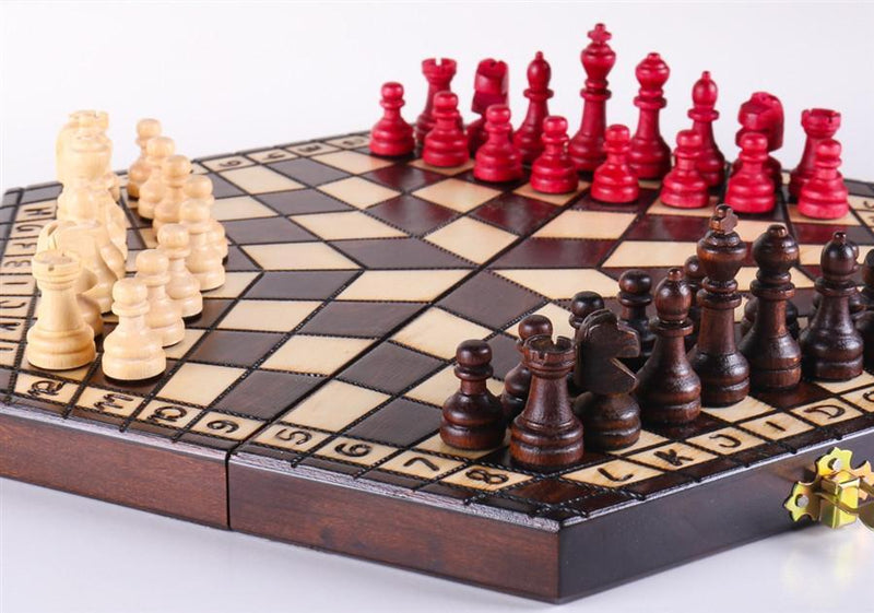 3 Player Small Wood Chess Set