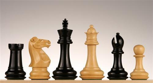 "4 1/4"" Windsor Staunton Chess Pieces in Ebonized/Boxwood - Piece - Chess-House"