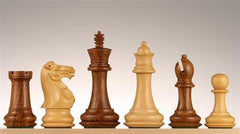 "4 1/4"" Windsor Staunton Chess Pieces in Golden Rosewood/Boxwood - Piece - Chess-House"