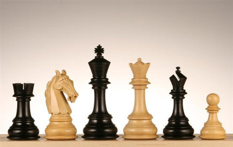 "4 5/8"" Columbian Knight Ebony Wood Chess Pieces - Piece - Chess-House"