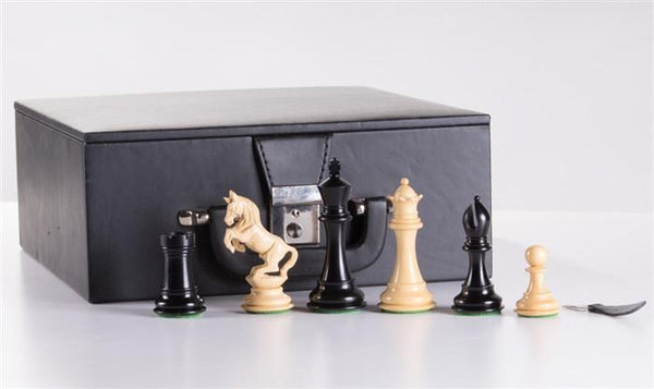 "4"" Alexander Staunton Ebony Wood Chess Pieces w/box - Piece - Chess-House"