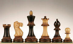 "4"" Burnt Pyrography Chess Pieces - Piece - Chess-House"