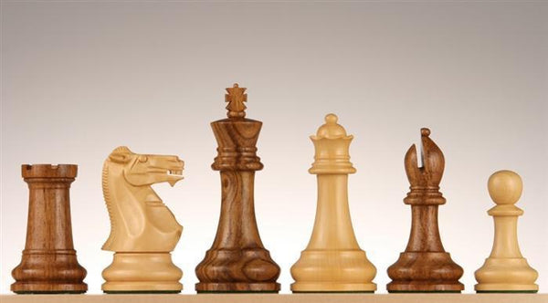 "4"" Monarch Golden Rosewood Staunton Chess Pieces - Piece - Chess-House"