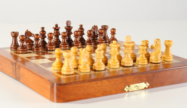 "5 1/2"" Magnetic Folding Chess Set in Golden Rosewood & Maple in a Leatherette Case - Chess Set - Chess-House"