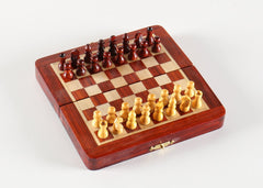 "5"" Magnetic Folding Chess Set in Blood Rosewood & White Maple - Chess Set - Chess-House"