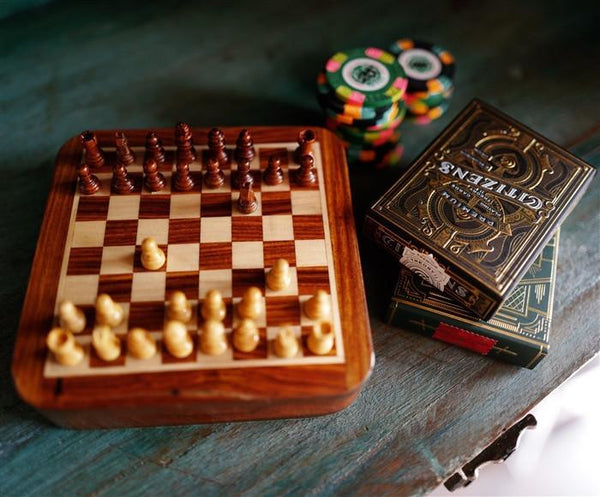 "5"" Magnetic Wood Chess Game w/drawer - Chess Set - Chess-House"