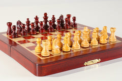 "7 3/8"" Magnetic Folding Chess Set in Blood Rosewood & White Maple - Chess Set - Chess-House"