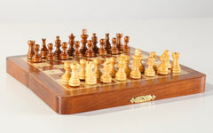 "7.5"" Folding Pegged Golden Rosewood Chess Set in Leather Case - Chess Set - Chess-House"
