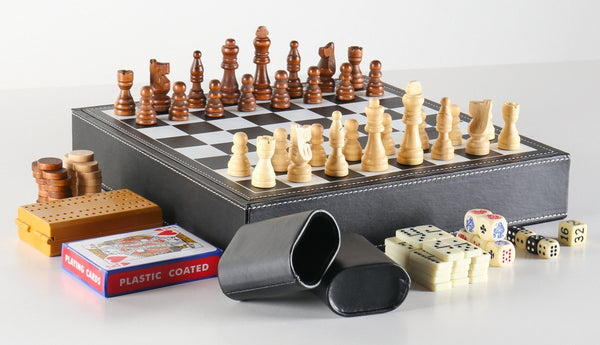 7 In 1 Black Leatherette Game Set - Chess Set - Chess-House