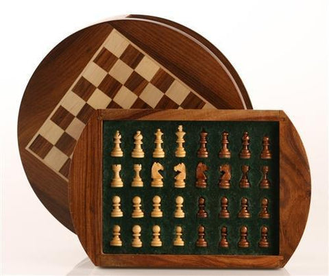 "9"" Magnetic Round Wood Chess Game - Chess Set - Chess-House"