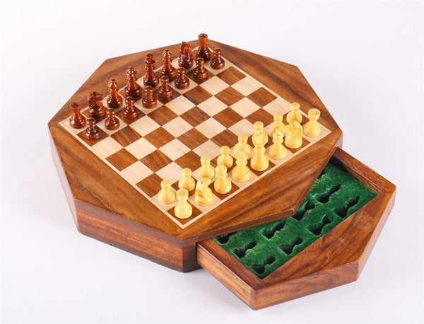 "9"" Magnetic Wooden Chess Set - Octagonal - Chess Set - Chess-House"