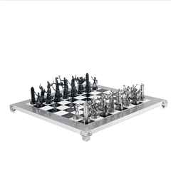 "Aluminum Greek Mythology Chess Set - 14"" - Chess Set - Chess-House"