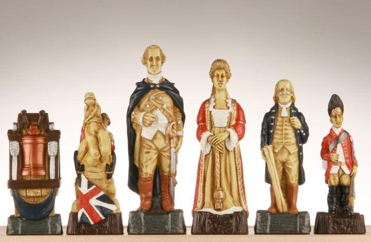 American Revolutionary War Chess Pieces - SAC Hand Decorated