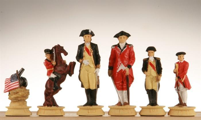 American War for Independence, Oxo-Teak Chess Pieces - 3-1/2
