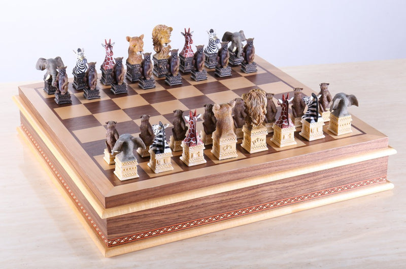Animals of the Savanna Chess Set with Storage Board