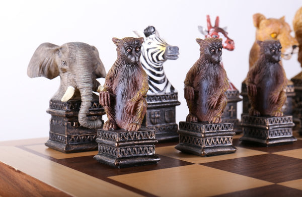 Animals of the Savanna Chess Set with Storage Board - Chess Set - Chess-House
