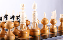 Antique Bone and Wood Chess Set - Chess Set - Chess-House