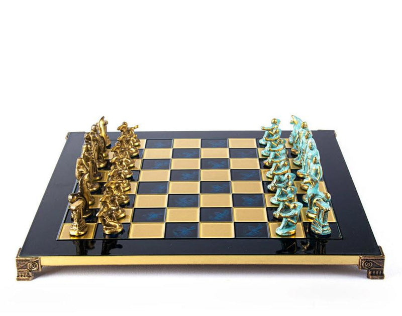 Archaic Period Solid Brass Chess Set in Blue - 17