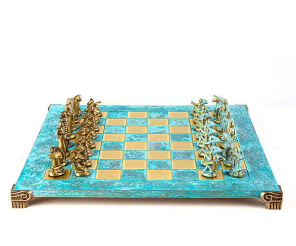 Archaic Period Solid Brass Chess Set in Turquoise - 17""