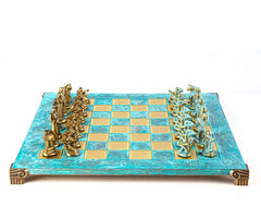 "Archaic Period Chess Set in Turquoise - 17"" - Chess Set - Chess-House"
