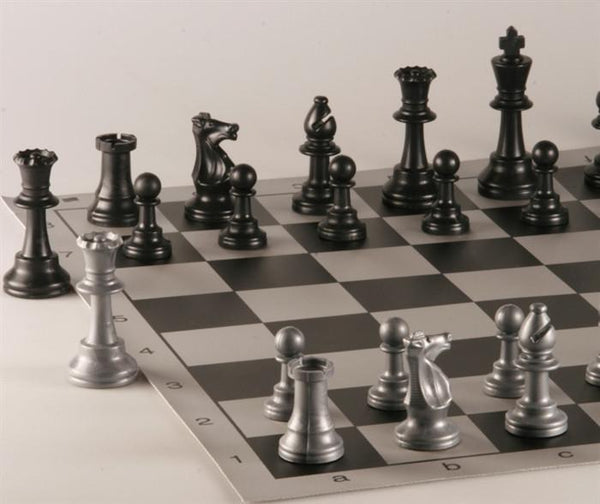 Armory Club Style Chess Set - Brushed Aluminum Look - Black - Chess Set - Chess-House