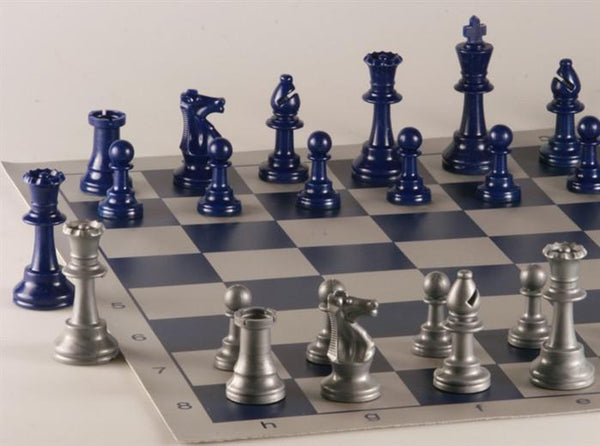 Armory Club Style Chess Set - Brushed Aluminum Look - Blue - Chess Set - Chess-House