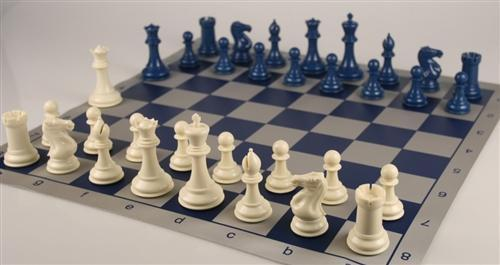 Armory Professional Chess Set - Brushed Aluminum Look - Blue - Chess Set - Chess-House