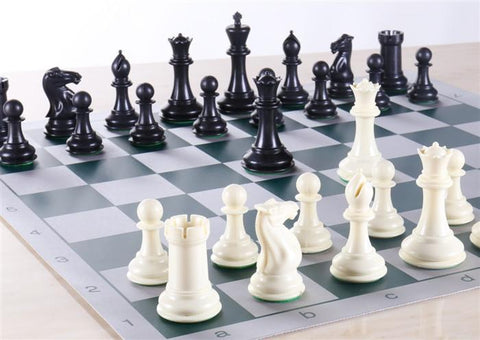 Armory Professional Chess Set - Brushed Aluminum Look - Green - Chess Set - Chess-House