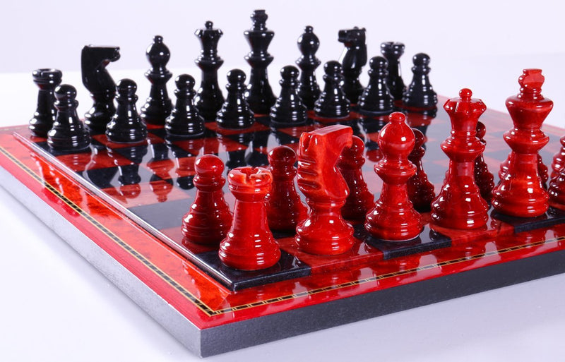 Black and Red Alabaster Chess Set with Wood Frame