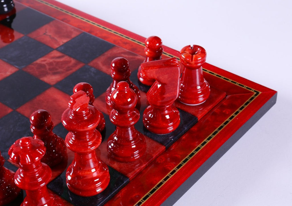 Black And Red >> Black And Red Alabaster Chess Set With Wood Frame Chess House