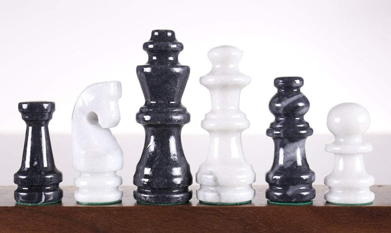 Black and White Marble Chess Pieces - 3 1/2