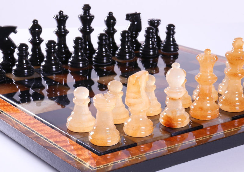 Black & Brown Alabaster Chess Set with Wood Frame