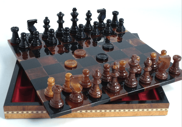Black & Brown Alabaster Inlaid Chest Chess Set