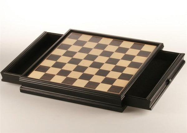 Black Stained Wooden Board with Storage Drawer - 14 3/4 in. - Board - Chess-House