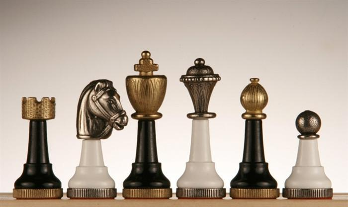 Black and White Wood and Metal Men -  Chess Pieces