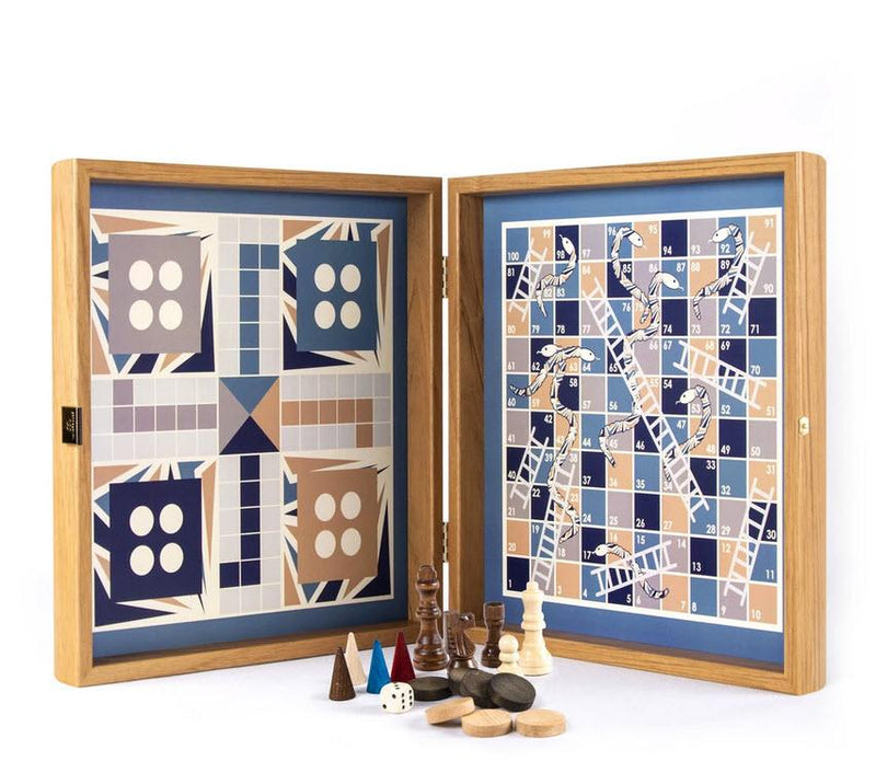 Blue Colored Multi Game Set - Chess, Backgammon, Ludo, Snakes and Ladders